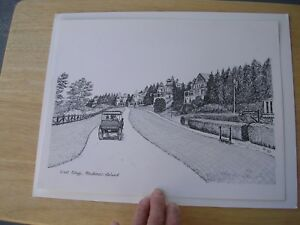 """MACKINAC ISLAND,MICHIGAN, WEST BLUFF.1982 Etching """"SIGNED"""" BY Maggie LaNoue"""