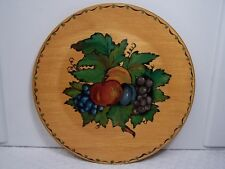 """Hand Painted 8"""" Wood Wooden Decorative Decor Plate Fruits & Leaves Free Shipping"""