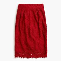 NWT AUTH J.CREW $98 Pintucked Pencil Skirt in Lace FESTIVE RED F8860 0 2 4 8 10