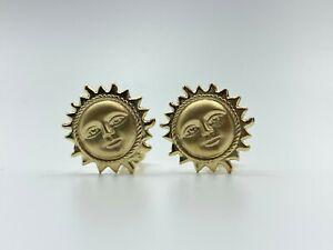 14K Yellow Gold Sun Smiling Earrings