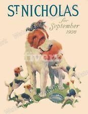 Life Magazine ReprintSaint Bernard, Jack Russell TerrierDog and Kitten