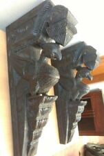 Wall Corbel Pair Wooden Bracket Peacock Sculpture Vintage Statue Home Decor Rare