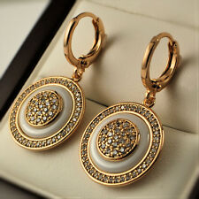 18ct Gold Filled Clear Crystal CZ Round Ceramic Disc Dangle Drop Earrings UK 352