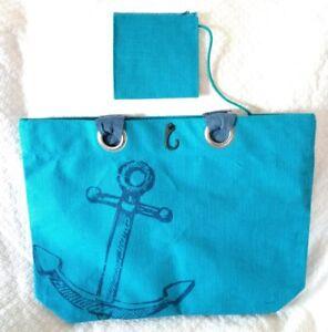 New Beach Tote XL Shopping Picnic Pool Travel School Book Bag Jute Canvas