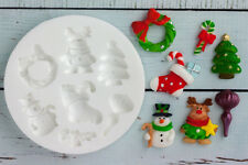 Silicone Mould, Christmas Wreath Reindeer Tree Snowman Stocking Bauble M153