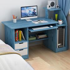 Blue 100cm Computer Desk PC Table 2 Doors Laptop Home Office Study Furniture UK