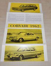 1962 Chevrolet Corvair Sales Catalog Brochure Prospekt Switzerland Edition