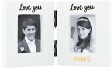 SALE !  LOVE YOU MORE Mini Double Photo Frame Mr & Mrs Wedding Gift Anniversary