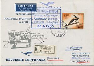 SAN MARINO 1956 Mitläuferpost R-Erstflug Lufthansa DÜSSELDORF-MANCHESTER-SHANNON