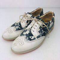 Ecco Golf Shoes, Women's Size 7.5 US / 38 EU, White Blue Black Camo