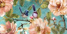 Blue Wren Hand Painting Picture Canvas Print Wall Home Decor Bird Flower