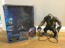 """BOXED GIANT 10 """" ARMORED CAVE TROLL LORD OF THE RINGS TOY BIZ LOTR 2 TOWERS K15"""