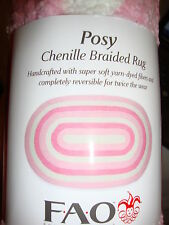 New Fao Posy Pink And White Chenille Braided Rug
