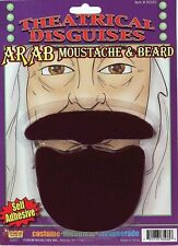Middle Eastern Man Costume Beard Fake Hair Goatee Black Mustache Adult Mens NEW