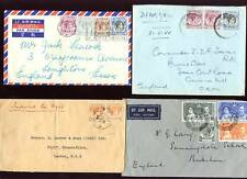 MALAYA KG6 1937-55 AIRMAIL to UK..13 stamps on 4 COVERS