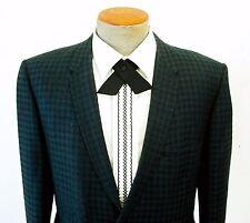 1960s Satin Continental Tie Mid Century Men's Vintage Black Crossover Bow Tie