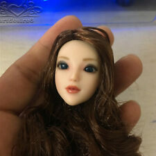 "1/6 Sca Female MOVABLE EYES Head Sculpt Brown Hair Long f 12"" OB Body Figure"
