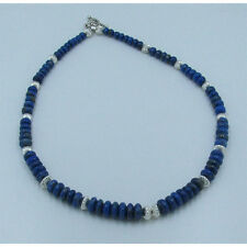 Graduated .925 Sterling Silver Natural Blue Lapis Lazuli Rondelle Bead Necklace