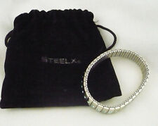 Steelx stainless steel ladies expansion bracelet with blue rhinestone accents