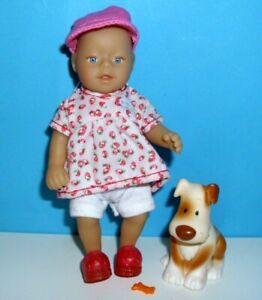 %***Mini Baby Born von Zapf Creation 14 cm. mit Hund, Kleidung und Zubehör***%