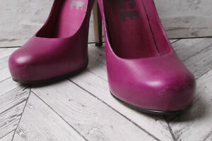 OFFICE Court Pumps Leather Purple High Heels Work Hoilday Party RRP £79 3.5 36