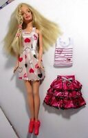 Barbie doll Long Blonde Hair 2 Sets of Brand New Clothes & Pink High Heels