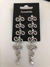ears bling gift rhinestone *New* Gorgeous Long drop diamante earrings pierced