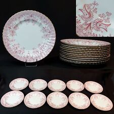 AF Gien 1880 ensemble de 10 assiettes dessert porcelaine fine 18cm motif rose