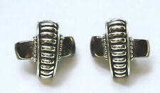 1980s Silver Black Tone Rock Cross Goth Vintage Clip On Earrings