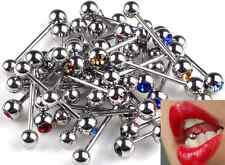 Tongue Lip Bars Rings Barbell Body Piercing Stainless Steel 10pcs mixed color