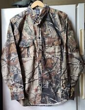 Realtree AP Long Sleeve Button Front Shirt Camo Hunting Outdoors M Cotton Poly