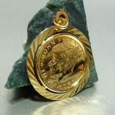 750 / 18 KT GOLD MÜNZE IN 585 / 14 FASSUNG JOHN F. KENNEDY ANHÄNGER