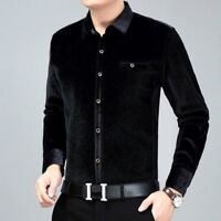 Men Velvet Shirt Casual Long Sleeve Pleuche Top Formal Business Warm Winter Slim