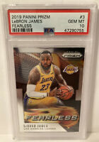 Lebron James 2019 Panini Prizm Fearless #3 PSA 10 GEM MINT Los Angeles Lakers