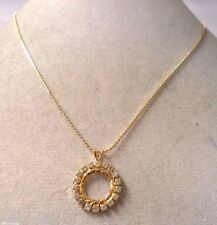 STUNNING VINTAGE ESTATE GOLD TONE RHINESTONE WREATH NECKLACE!!! WGA3250