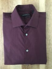 John Varvatos Stay USA, Slim Fit Solid Stretch Cotton Shirt, Burgundy,16 (34/35)