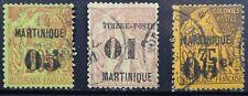 Martinique Scott 13, 15 & 21 Used Singles Issued 1888-1891