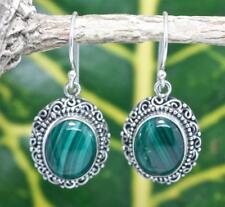 Handmade Sterling Silver .925 Bali Oval Swirl/Dot Dangle Earrings w Malachite.