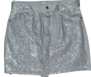 Topshop Moto Denim Stone Wash Mini Skirt with sequins Front & Belt Sizes 6-16