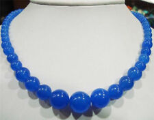 """Charming Natural 6-14mm Blue Sapphire Gemstone Round Beads Necklace 18"""""""