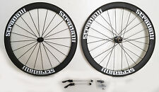 STRADALLI CARBON FIBER AERO CLINCHER ROAD BICYCLE BIKE WHEELSET 50mm MATTE WHITE