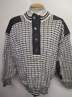"""Traditional Vintage Nordic Norwegian Pattern Button Neck Jumper Size L 42-44"""""""