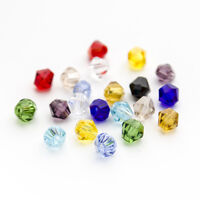 200pcs/lot Mixed Color 4mm Faceted Bicone Crystal Glass Loose Spacer  Beads DIY