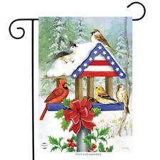 "Patriotic Christmas Birdfeeder Garden Flag Cardinal Chickadees 12.5"" x 18"""