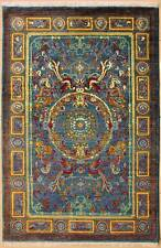 Rugstc 4x6 Senneh Chobi  Blue Rug,Natural dye,Hand-Knotted,Pictorial Hunting,Woo