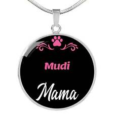 """Mudi Mama Necklace Circle Pendant Stainless Steel Or 18K Gold 18-22"""" Dog Mom Pen"""