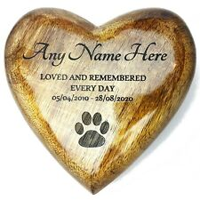 Heart Shaped Ashes Box Pet Dog Or Cat Urn Wooden Casket Cremation Box - Italic