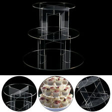 3 TIERS CIRCLE ROUND ACRYLIC CUPCAKE PARTY WEDDING CUP CAKE STAND HOLDER DISPLAY
