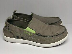 Crocs Men's Walu Gray Canvas Slip On Loafers 11270 Size 8