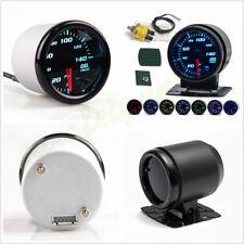 """DC12V Smoke Tint Lens 7-Color LED 2"""" 52mm Car Oil Pressure Meter Gauge w/Sensor"""